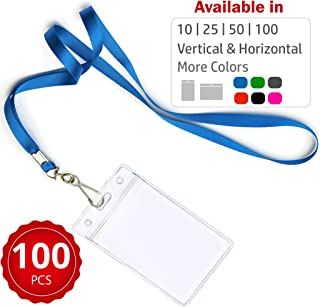 Durably Woven Lanyards & Vertical ID Badge Holders ~ Premium Quality, Waterproof & Dustproof ~ for Moms, Teachers, Tours, Events, Businesses, Cruises & More (100 Pack, Blue) by Stationery King