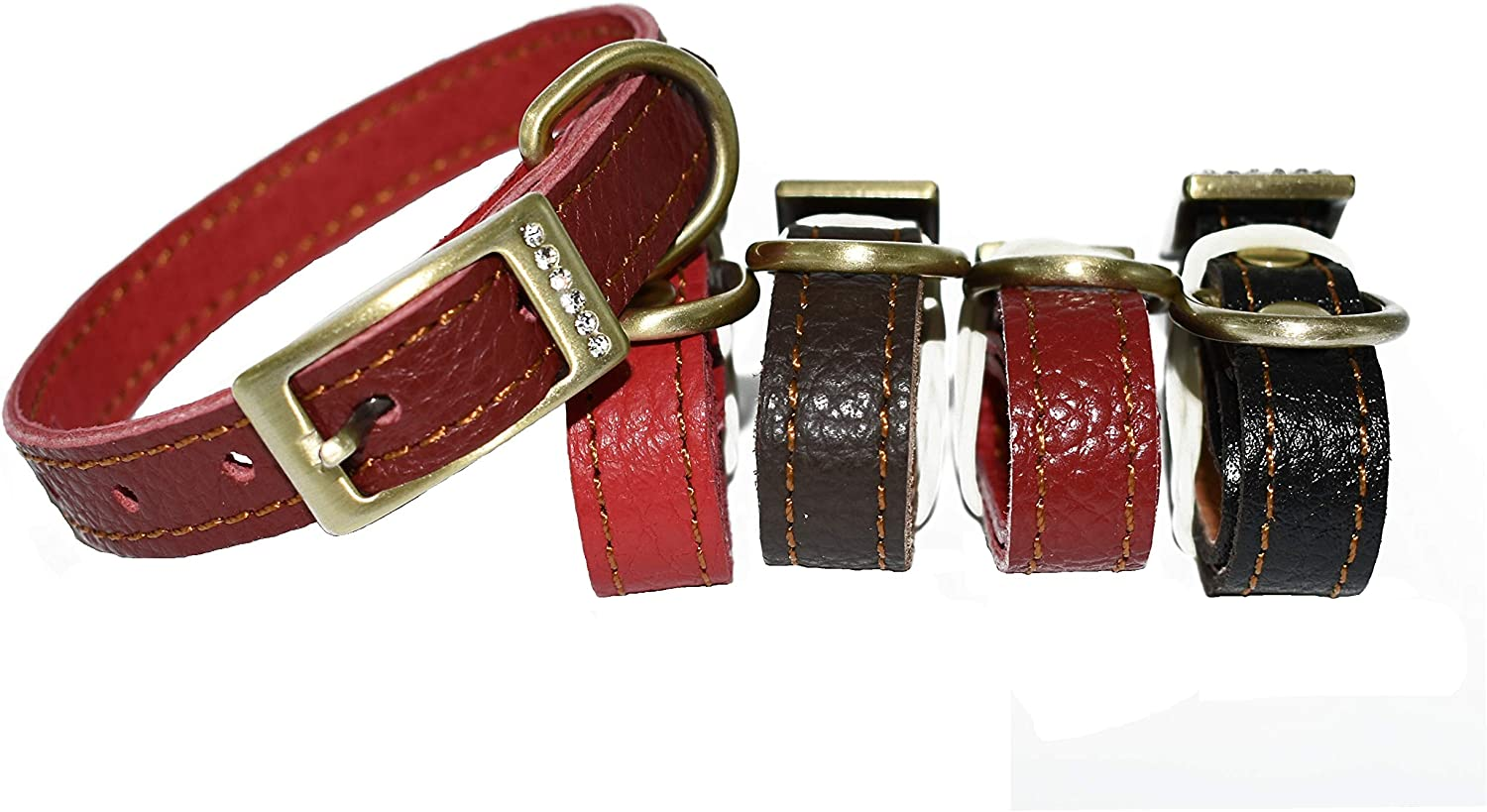 Novenco Genuine Soft Leather Dog Collar Cat Collar Padded with Leather, Adjustable for Baby and Small Dogs and Cats (7 10 , Red)