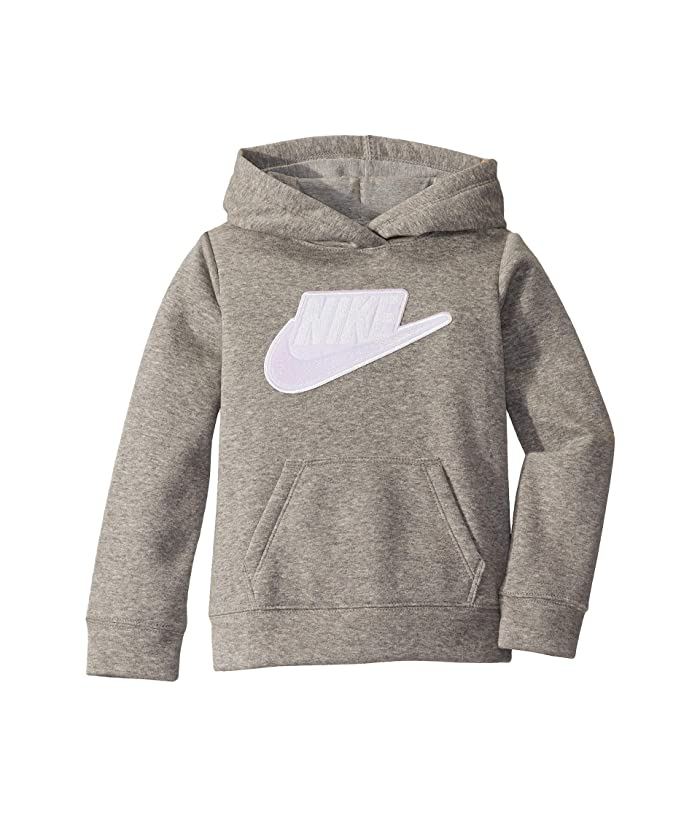 Nike Kids  Sueded Fleece Iridescent Logo Pullover Hoodie (Toddler/Little Kids) (Dark Heather Grey) Girls Sweatshirt