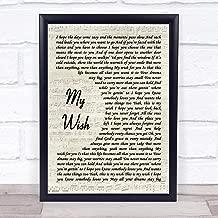 My Wish Song Lyric Vintage Script Quote Print