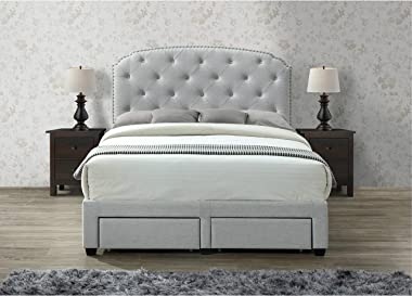 DG Casa Argo Upholstered Panel Bed Frame with Storage Drawers and Diamond Button Tufted Nailhead Trim Headboard, Queen Size i