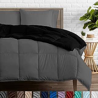 Bare Home Reversible Comforter - Full/Queen - Goose Down Alternative - Ultra-Soft - Premium 1800 Series - Hypoallergenic - All Season Breathable Warmth (Full/Queen, Black/Grey)