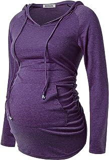 GINKANA Maternity Hoodie Long Sleeves Shirts Casual Maternity Top Pregnancy Sweatshirt Casual Clothes