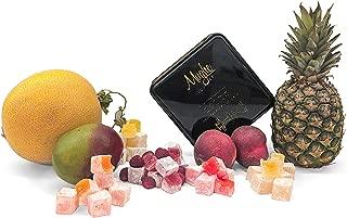 Mughe Mix Plain Turkish Delight Tin Box 1.250 kg (No Nuts) - Tropical Breeze 5 Different Flavors: Mango, Peach, Melon, Pineapple, Raspberry - 100 Pcs Approx. (Gift Basket Tin Box 3 Pounds, 48 Oz)