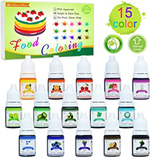 Food Coloring - 15 Color Liquid Cake Icing Food Coloring Set for Baking, Decorating, Slime Making Supplies Kit - Rainbow Food Color Dye for Fondant, Cooking and DIY Crafts - .25 fl. Oz. Bottles