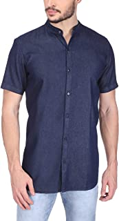 Divisive Men's Half Sleeves Mandarin Collar Denim Cotton Shirt