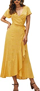 Women's Bohemian Floral Printed Wrap V Neck Short Sleeve High Split Beach Party Maxi Dress