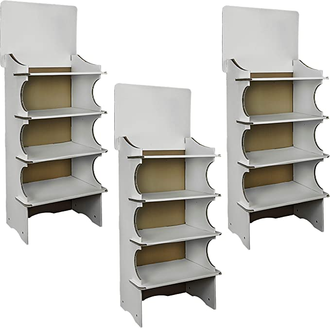 Cemab - 3 expositores de cartón entrelazado con 4 estantes de montaje rápido de suelo para tiendas y supermercados (3)