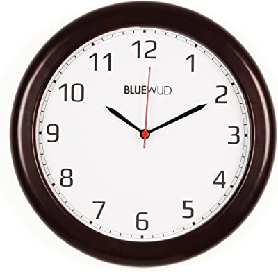 "Bluewud Gautier Wooden Wall Clock with Glass (Brown, Round, 12"") WC-GA-R12 - Ideal for Gifts."