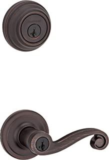 Kwikset Lido Keyed Entry Lever and Single Cylinder Deadbolt Combo Pack with Microban Antimicrobial Protection featuring Sm...