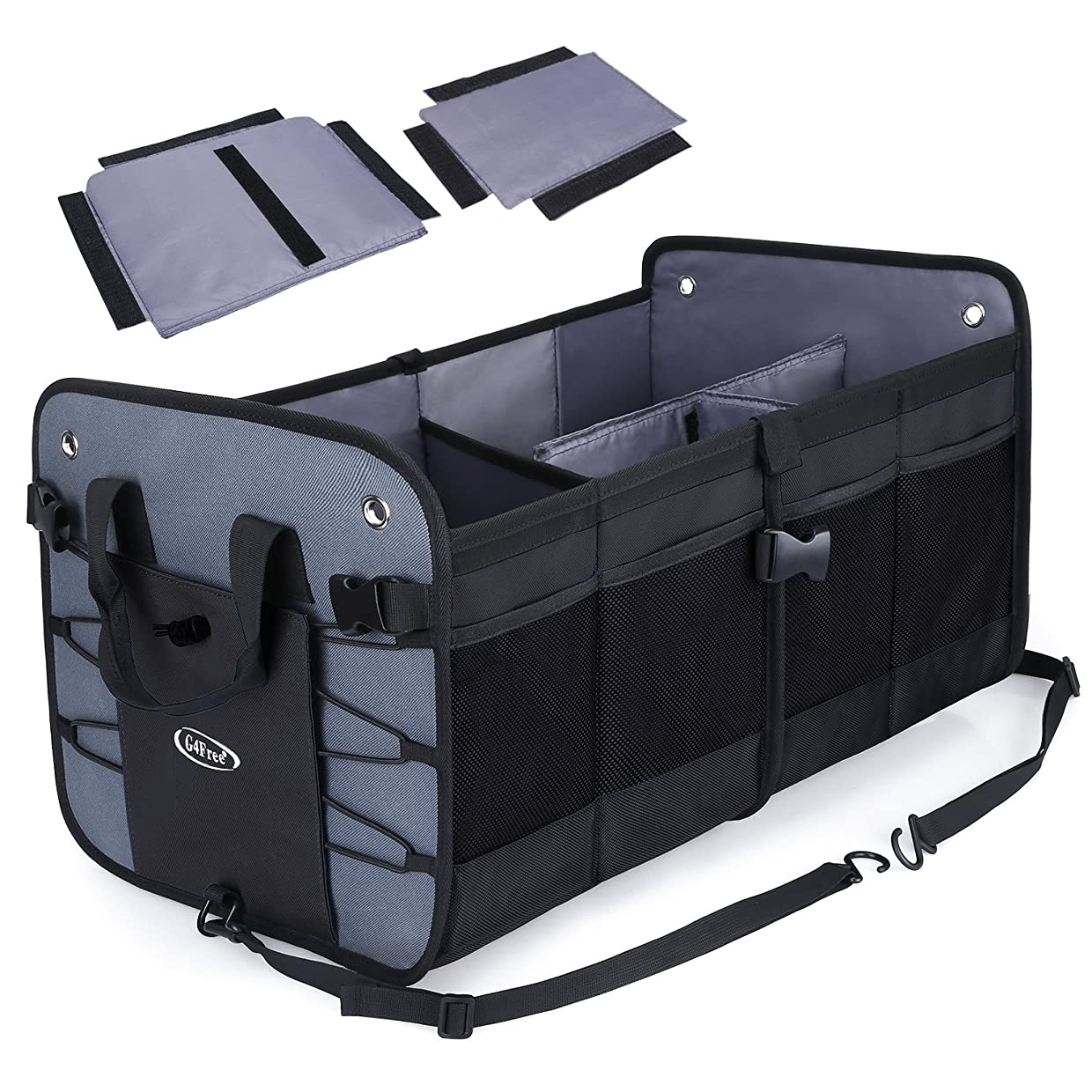G4Free Trunk Organizer- Collapsible Auto Car & SUV Cargo Storage Container, Eco-Friendly Heavy Duty Waterproof Storage Bin and Carrier 66L for SUV, Truck, Auto, Vehicle(Black) cokmpychjt1
