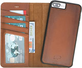Burkley Case Detachable Leather Wallet Case for Apple iPhone 8 Plus / 7 Plus with Magnetic Closure and Snap-on | Book Style Cover with Card Holders and Kickstand in a Gift Box | (Burnished Tan)
