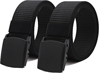 Nylon Military Tactical Men Belt Breathable Webbing Canvas Outdoor Web Belts with Plastic Buckle,2 Pack