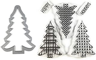 Christmas Tree Clear Stamps and Metal Cutting Die | 6 Piece Set | Perfect for DIY Christmas Cards, Scrapbook Albums and Pages