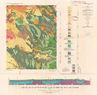 Historic Pictoric Map : Geology and Uranium-Vanadium deposits of The La Sal Quadrangle, San Juan County, Utah, and Montrose County, Colorado, 1965 Cartography Wall Art : 36in x 36in