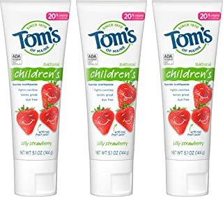Tom's of Maine Anticavity Fluoride Children's Toothpaste, Kids Toothpaste, Natural Toothpaste, Silly Strawberry, 5.1 Ounce, 3-Pack