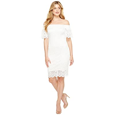 Laundry by Shelli Segal Off the Shoulder Lace Dress (Marshmallow) Women