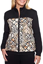 Alfred Dunner Womens Plus Animal Print Casual Bomber Jacket