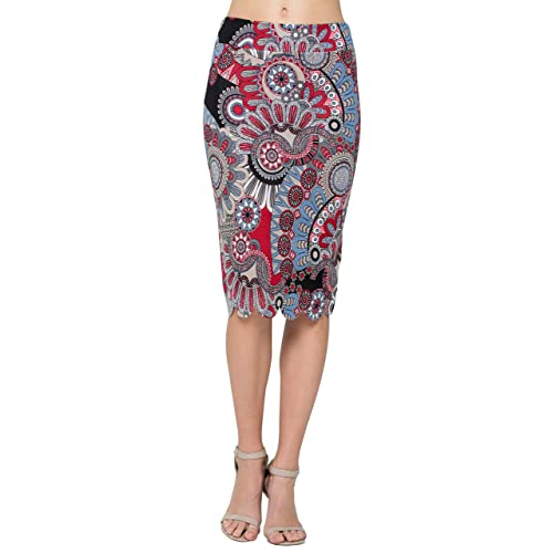e37ab9a4c2a571 Junky Closet Women's Scallops Knee Length High Waisted Pencil Skirt (Made  in ...