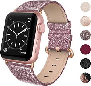 SWEES Compatible for Apple Watch Band 38mm 40mm, Genuine Leather Shiny Glitter Strap Compatible iWatch Apple Watch Series 5 4 3 2 1, Sports & Edition Women, Glistening Rose Pink