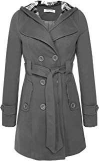 Women Check Hood Coat Military Button Hooded with Belt