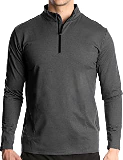 Fort Isle Men's Long Sleeve Half-Zip Pull Over Shirt - Quick Dry Performance Casual, Workout or Running