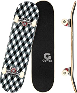Gonex Completo Skateboard per Principianti, 79 x 20 cm 9 Strati di Acero Double Kick Deck Concavo Skate Board per Bambini ...