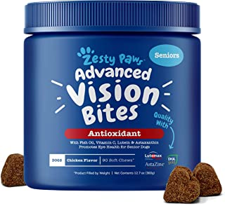 Zesty Paws Eye Supplement for Dogs - Vision Support with Lutein + Vitamin C & Astaxanthin Antioxidants - Dog Vitamins for Eyes + Fish Oil for Omega 3 EPA & DHA Fatty Acids for Senior Dogs
