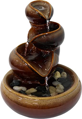 2021 Sunnydaze Tiered Vessels Indoor Ceramic Tabletop outlet sale Fountain - Interior Mini Water Feature popular for Bedroom, Office, Living Room, Kitchen Dining Room and Bathroom - 10-Inch online sale