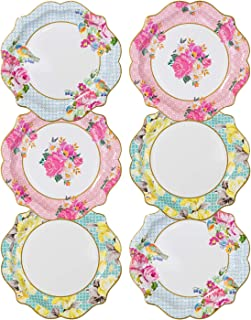 Talking Tables TS4-MED-PLATE Truly Scrumptious Tea Party Vintage Floral Paper Plates, Pastel colors