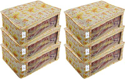 Heart Home 6 Piece Non Woven Saree Cover Set, Ivory & Red, 7 Inches Height CTHH11469