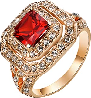 Yoursfs Red Fashion Rings for Women Wedding 18K Rose Gold Plated Big Halo Austrian Crystal Square Cut Cubic Zirconia Costu...