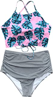 CUPSHE Women's High Waisted Bikini Set Tankini Swimwear