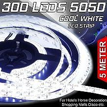 EZONEDEAL 16.4ft 5050 Cool White LED Flexible Strip 5M 300 LEDs Waterproof IP65 DC 12V for Home Garden Commercial Area Lig...