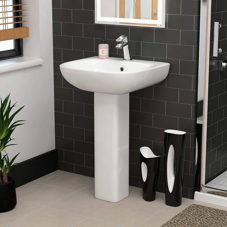 Modern Bathroom Ava 545mm Ceramic 1TH Basin Sink with Full Pedestal - Gloss White Finish