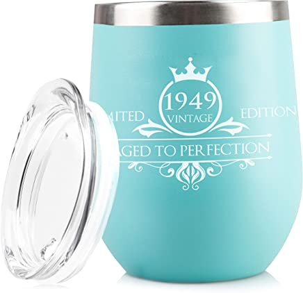 1949 70th Birthday Gifts for Women and Men - Funny Vintage Anniversary Gift Ideas for Mom,  Dad,  Husband or Wife - Party Decorations for Him or Her - 12 oz Stainless Steel Wine Glass Tumbler with Lid