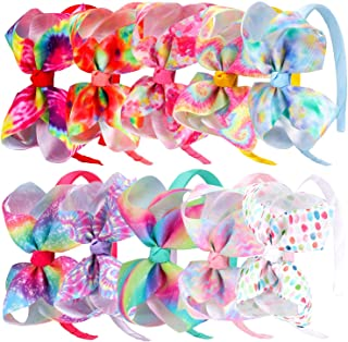 10pcs Grosgrain Bows Headbands for Girls,Tie Dye Hair Bows Hairbands,Dance Party Headbands Accessories for Baby Girl Toddlers