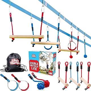 Ninja Slackline Obstacle Course for Kids 80' Feet - Monkey Bars Playground Equipment - Ninja Warrior Course with Monkey Ba...