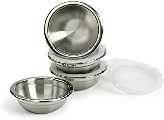 RSVP International Stainless Steel Prep Bowls with Airtight BPA-Free Plastic Lids, Set of 4 | One Cup Capacity | Store Lef...