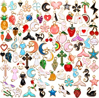 90 Pieces Assorted Gold Plated Enamel Dangle Charm Pendant for Jewelry Making (Animal Style)