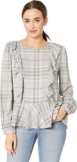 Long Sleeve Melange Twill Plaid Ruffle Front Blouse