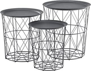 [en.casa] Set de 3X Cestas de Metal con bandejas extraíbles Mesa Baja Mesa Auxiliar para Almacenar Mesas de té y café Mesa...