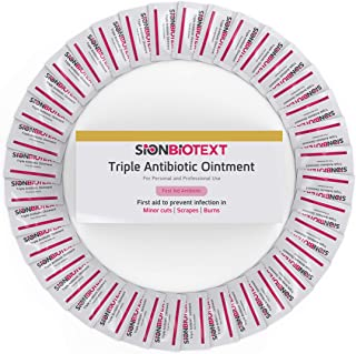 Triple Antibiotic Ointment Packets for Cuts, Scrapes, and Burns by Sion Medical. Antibacterial Skin Care Cream - Value Pack 0.031 oz (0.9g Pack of 144) - First Aid to Go!