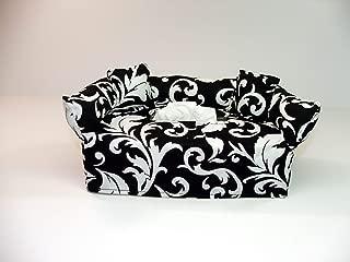 Black and White Designer fabric tissue box cover. Includes Tissue