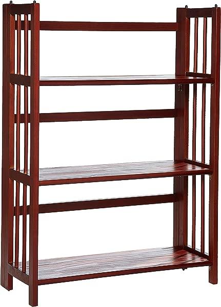 休闲家居 3 架子折叠可叠放书柜 27 5 宽胡桃木