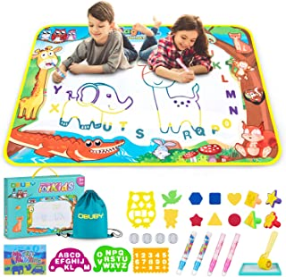 Best Obuby Aqua Magic Mat Kids Doodle Mats Water Drawing Writing Board Toy for Kid Toddler Animal Educational Painting Pad Toys for Age 3 4 5 6 7 8 9 10 11 12 Girls Boys Toddlers Gift 40 x 28 Inches Review