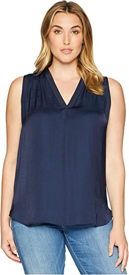 Plus Size Sleeveless V-Neck Rumple Blouse
