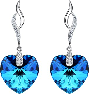 EleQueen 925 Sterling Silver CZ Love Heart Leaf Ribbon Drop Earrings Bermuda Blue Made with Swarovski Crystals
