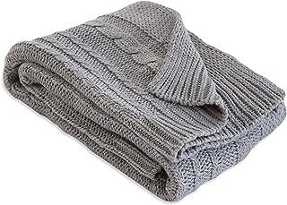 "Burt's Bees Baby - Cable Knit Blanket, Baby Nursery & Stroller Blanket, 100% Organic Cotton, 30"" x 40"" (Heather Grey)"