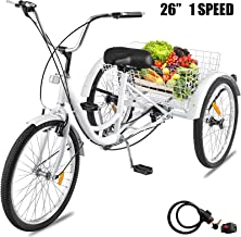Happybuy 26inch Adult Tricycle 7 Speed Single Speed 3 Wheel Bike Adult Tricycle Trike Cruise Bike Large Size Basket for Recreation Shopping